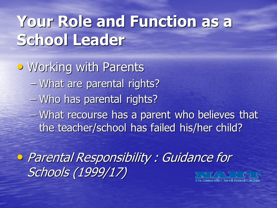 Your Role and Function as a School Leader Working with Parents Working with Parents –What are parental rights.
