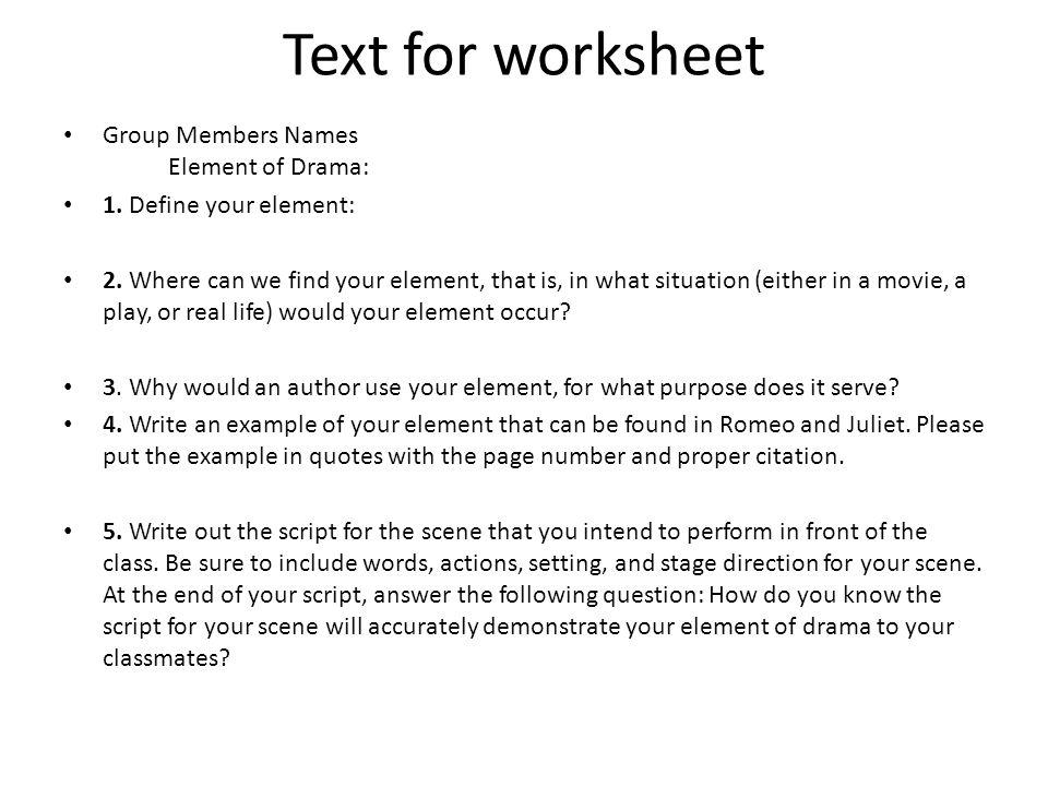 Drama Vocabulary Match Worksheet