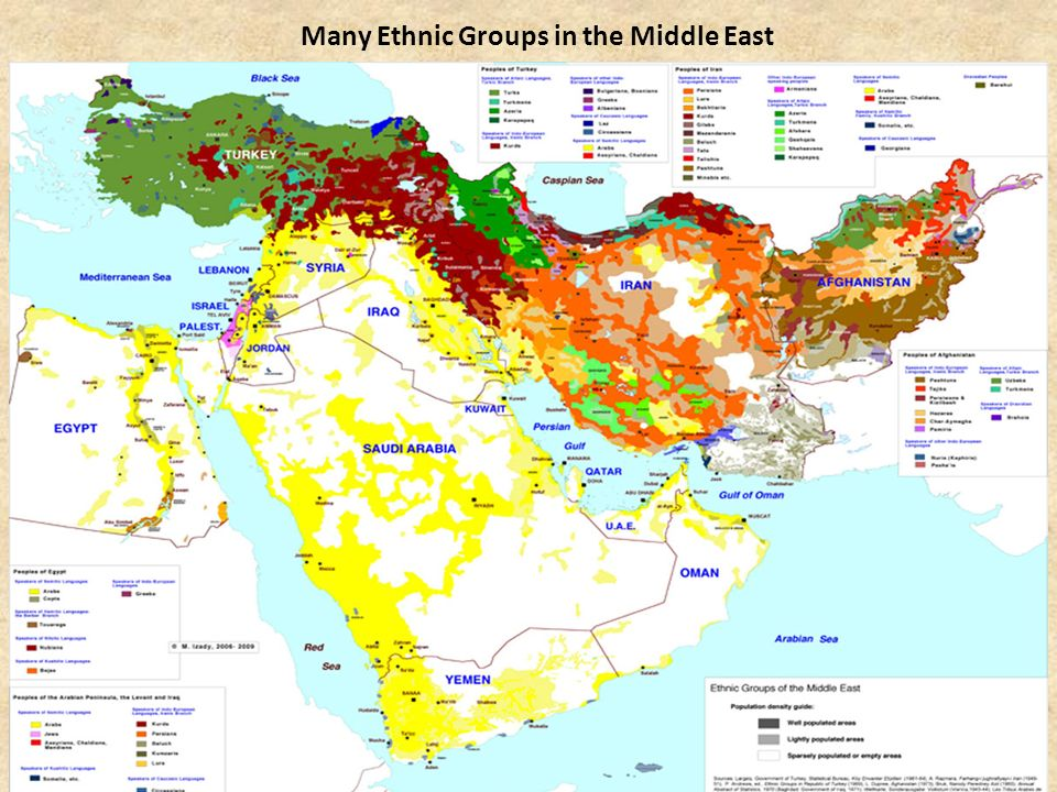 Cultures of the Middle East Majority speak Arabic (also Turkish, Farsi, Hebrew) Many different ethnic groups, such as Arabs, Persians, Turks, Kurds 90% follow Islam (Sunni and Shi'a)