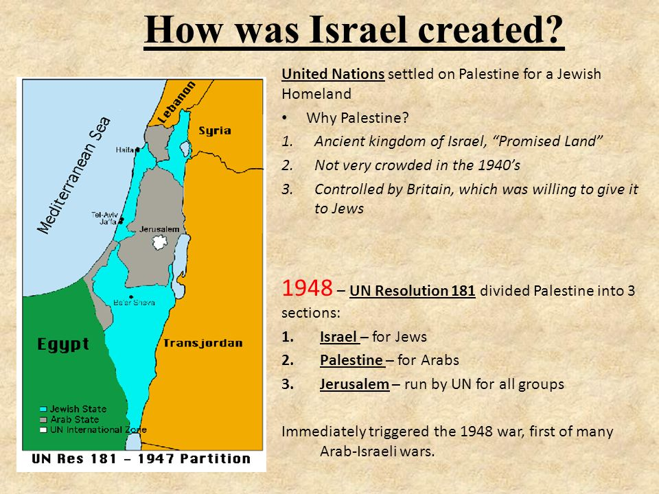 Creation of Israel Zionism - Political movement for a Jewish homeland.