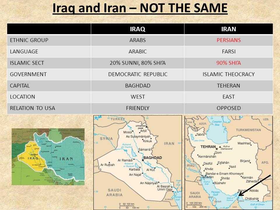 Iraq 20% Sunni 80% Shia Saddam Hussein former leader.