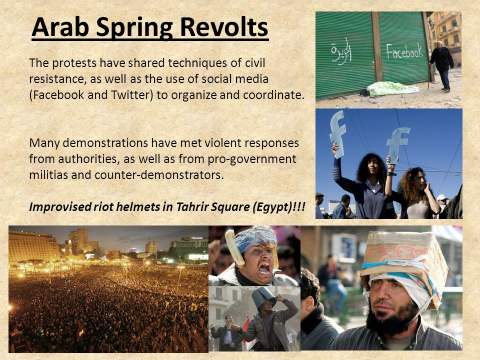 The Arab Spring Revolts The Arab Spring is a wave of demonstrations and protests occurring in the Arab world starting in late 2010.