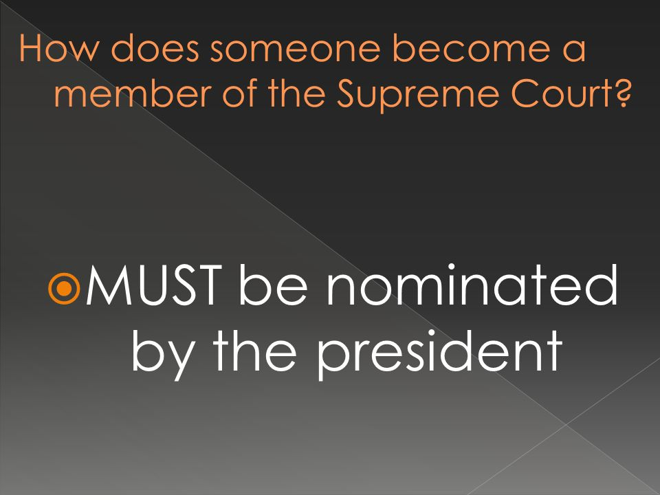 MUST be nominated by the president