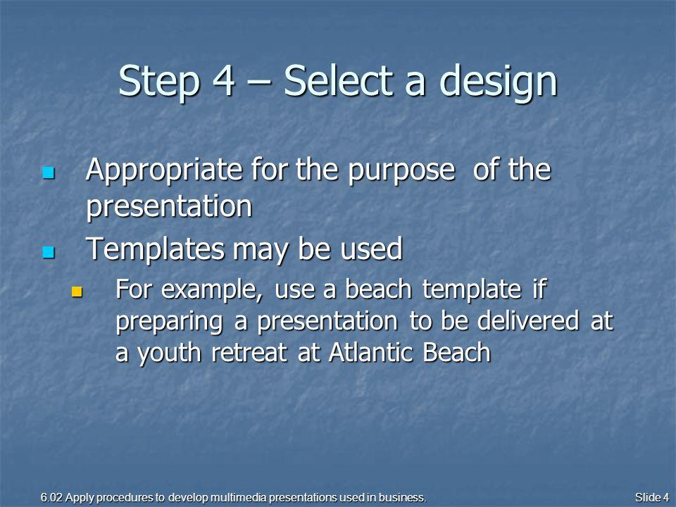 procedure for developing a multimedia presentation apply, Presentation templates