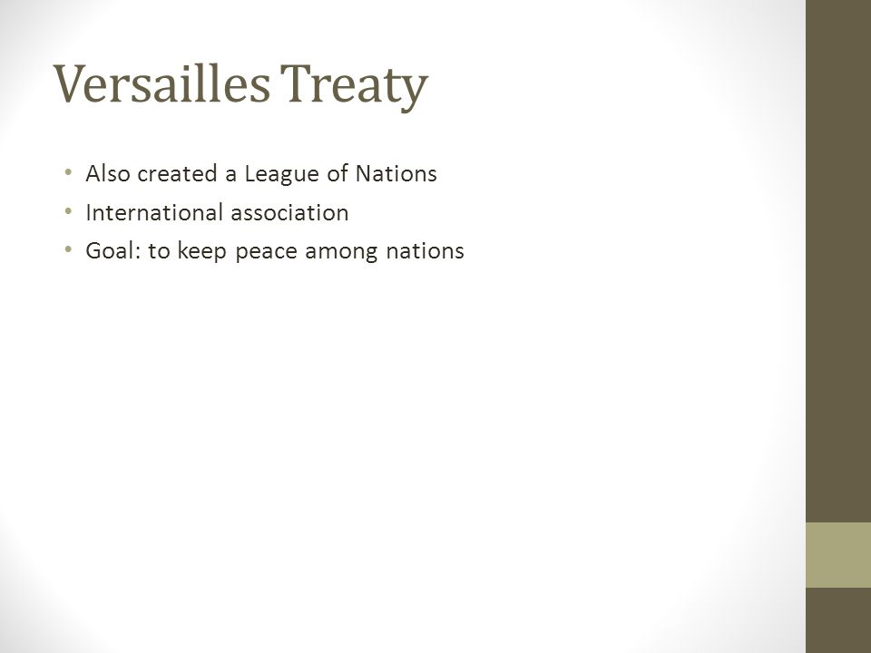 Versailles Treaty Also created a League of Nations International association Goal: to keep peace among nations