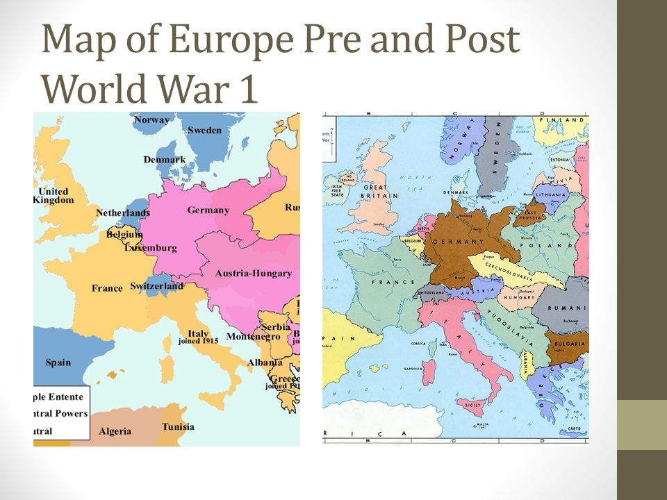Map of Europe Pre and Post World War 1