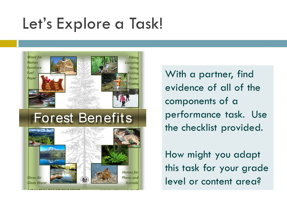 Let's Explore a Task. With a partner, find evidence of all of the components of a performance task.