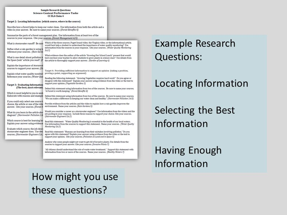 Example Research Questions: Locating Information Selecting the Best Information Having Enough Information How might you use these questions
