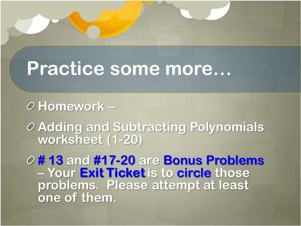 Subtraction Homework