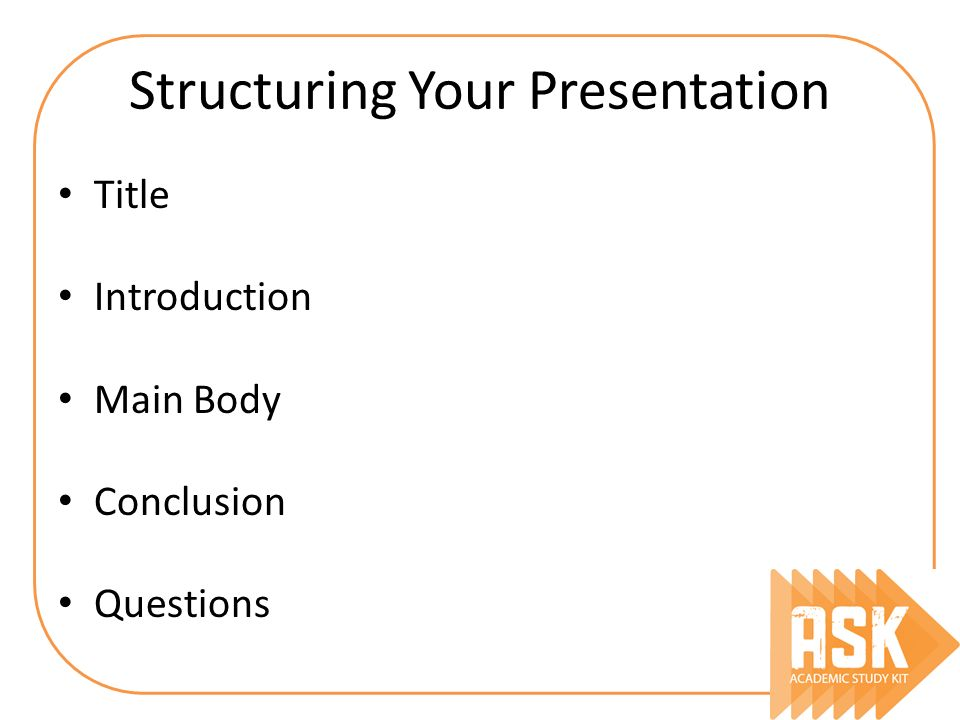 Structuring Your Presentation Title Introduction Main Body Conclusion Questions