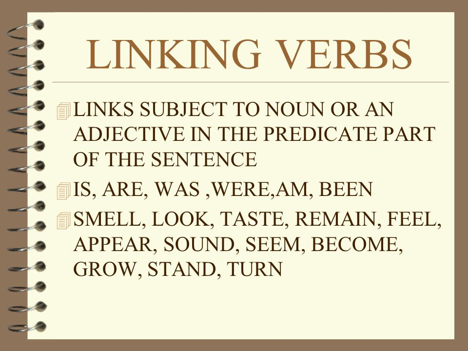 ACTION VERBS  SHOWS ACTION  LINKS SUBJECT TO ANOTHER WORD IN THE SENTENCE