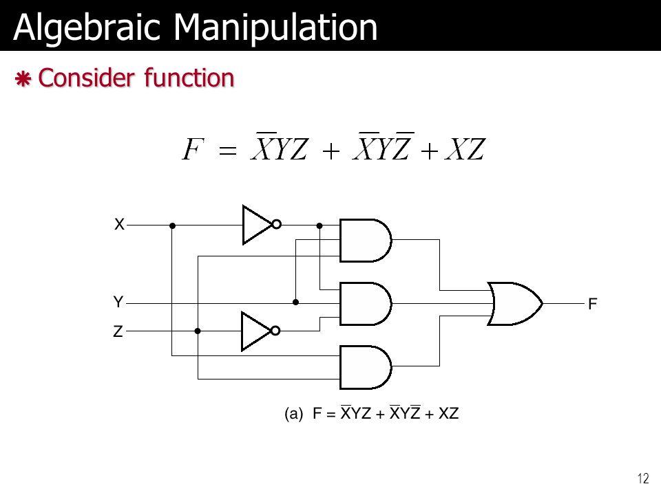 12 Algebraic Manipulation  Consider function