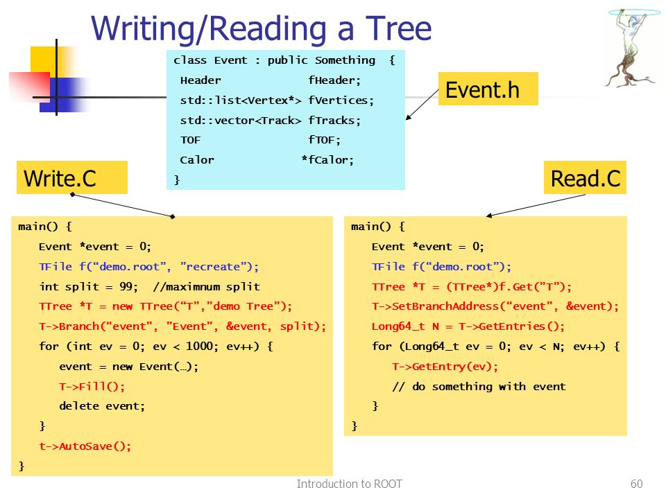 Introduction to ROOT60 Writing/Reading a Tree class Event : public Something { Header fHeader; std::list fVertices; std::vector fTracks; TOF fTOF; Calor *fCalor; } main() { Event *event = 0; TFile f( demo.root , recreate ); int split = 99; //maximnum split TTree *T = new TTree( T , demo Tree ); T->Branch( event , Event , &event, split); for (int ev = 0; ev < 1000; ev++) { event = new Event(…); T->Fill(); delete event; } t->AutoSave(); } main() { Event *event = 0; TFile f( demo.root ); TTree *T = (TTree*)f.Get( T ); T->SetBranchAddress( event , &event); Long64_t N = T->GetEntries(); for (Long64_t ev = 0; ev < N; ev++) { T->GetEntry(ev); // do something with event } Event.h Write.CRead.C