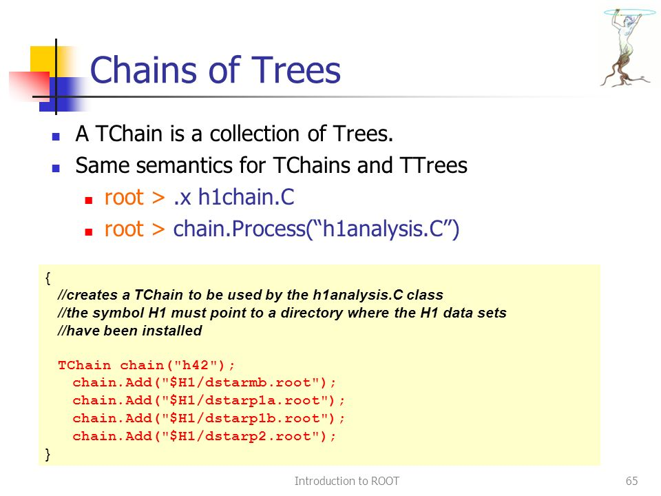 Introduction to ROOT65 Chains of Trees A TChain is a collection of Trees.