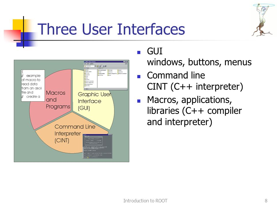 Introduction to ROOT8 Three User Interfaces GUI windows, buttons, menus Command line CINT (C++ interpreter) Macros, applications, libraries (C++ compiler and interpreter)