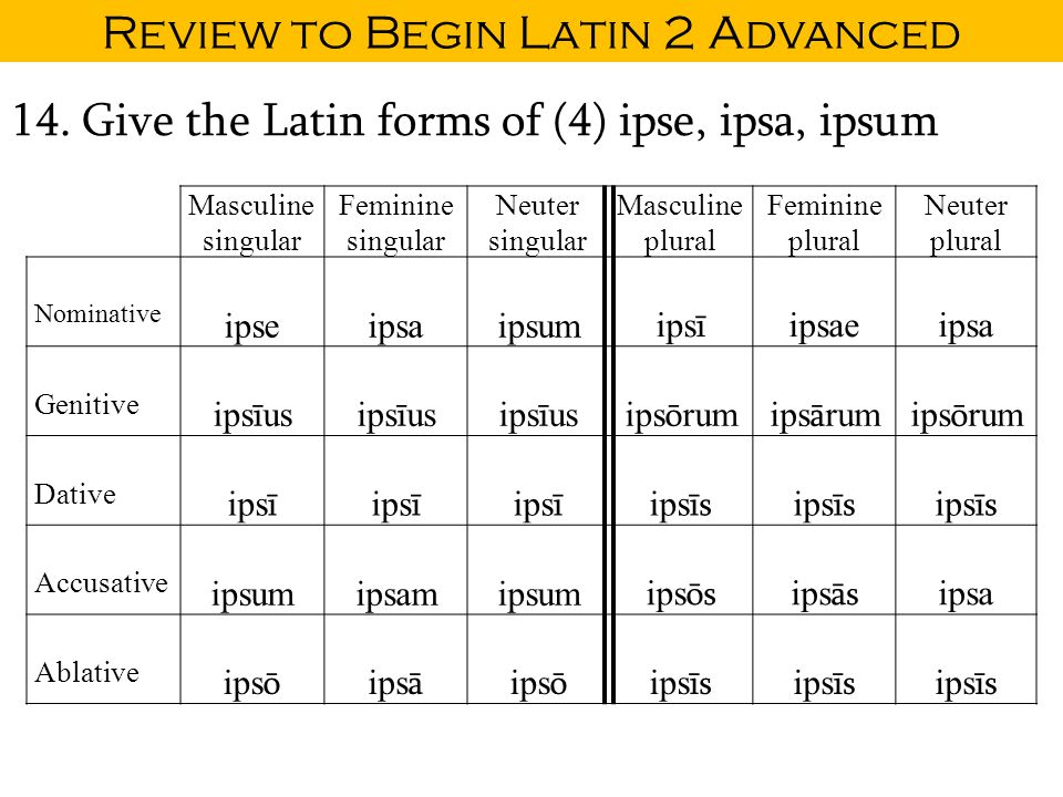 Review to Begin Latin 2 CP. Nouns and Declensions A noun is a ...