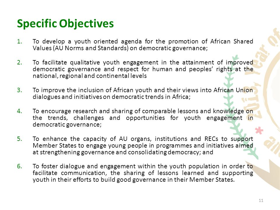 11 Specific Objectives 1.To develop a youth oriented agenda for the promotion of African Shared Values (AU Norms and Standards) on democratic governance; 2.To facilitate qualitative youth engagement in the attainment of improved democratic governance and respect for human and peoples' rights at the national, regional and continental levels 3.To improve the inclusion of African youth and their views into African Union dialogues and initiatives on democratic trends in Africa; 4.To encourage research and sharing of comparable lessons and knowledge on the trends, challenges and opportunities for youth engagement in democratic governance; 5.To enhance the capacity of AU organs, institutions and RECs to support Member States to engage young people in programmes and initiatives aimed at strengthening governance and consolidating democracy; and 6.To foster dialogue and engagement within the youth population in order to facilitate communication, the sharing of lessons learned and supporting youth in their efforts to build good governance in their Member States.