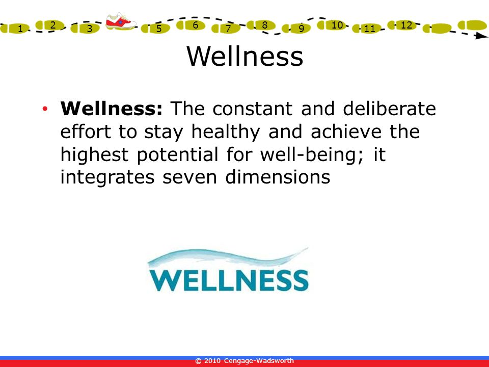 © 2010 Cengage-Wadsworth 1 2 3 4 5 6 7 8 9 10 11 12 Wellness Wellness: The constant and deliberate effort to stay healthy and achieve the highest pote