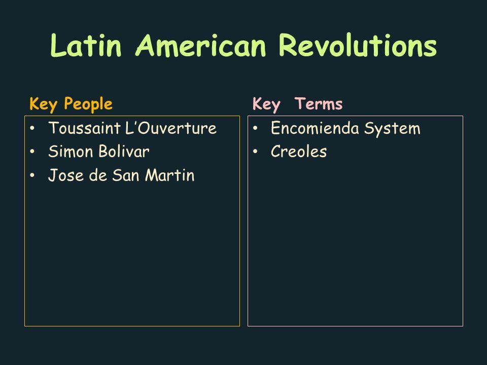 Latin American Revolutions Key People Toussaint L'Ouverture Simon Bolivar Jose de San Martin Key Terms Encomienda System Creoles