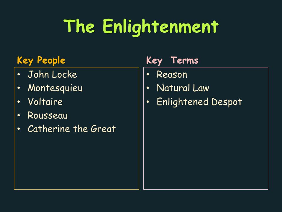 The Enlightenment Key People John Locke Montesquieu Voltaire Rousseau Catherine the Great Key Terms Reason Natural Law Enlightened Despot