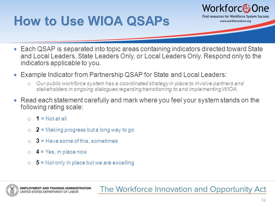 12  Each QSAP is separated into topic areas containing indicators directed toward State and Local Leaders, State Leaders Only, or Local Leaders Only.