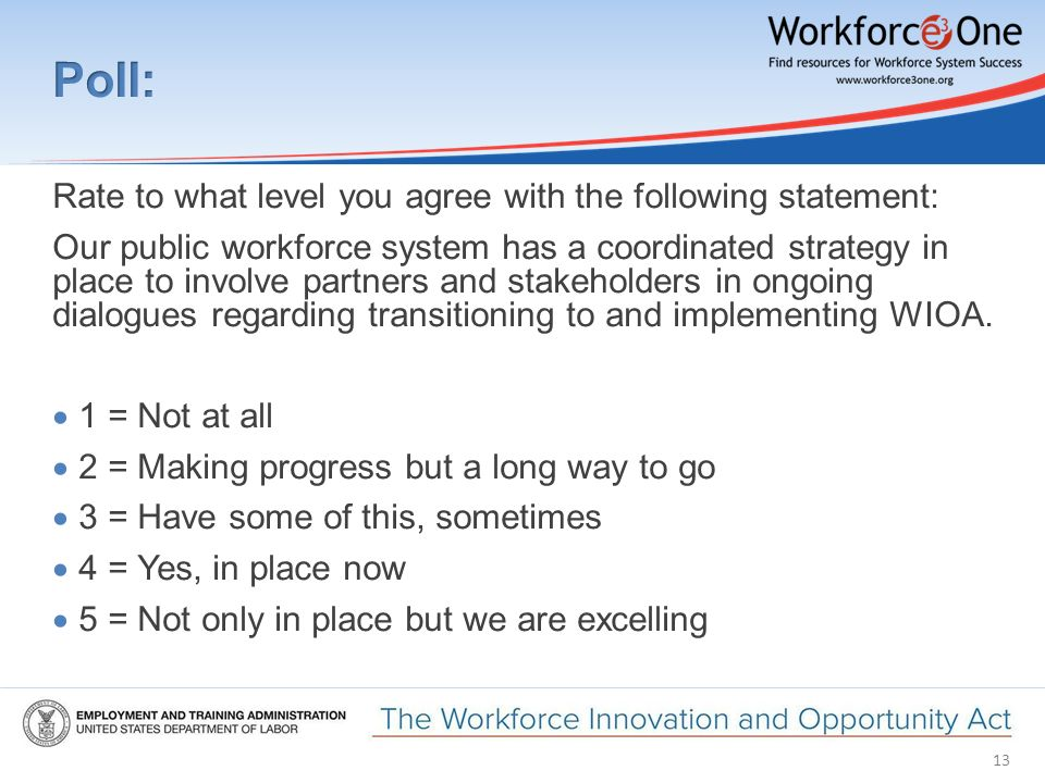 13 Rate to what level you agree with the following statement: Our public workforce system has a coordinated strategy in place to involve partners and stakeholders in ongoing dialogues regarding transitioning to and implementing WIOA.