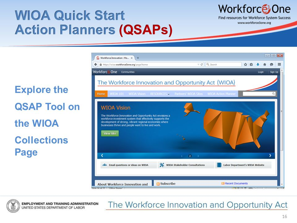 16 Explore the QSAP Tool on the WIOA Collections Page