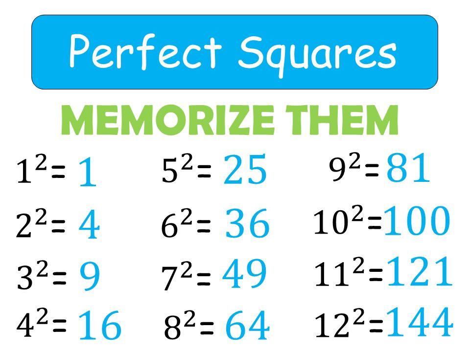 Perfect Squares MEMORIZE THEM 1 4 9 16 25 36 49 64 81 100 121 144