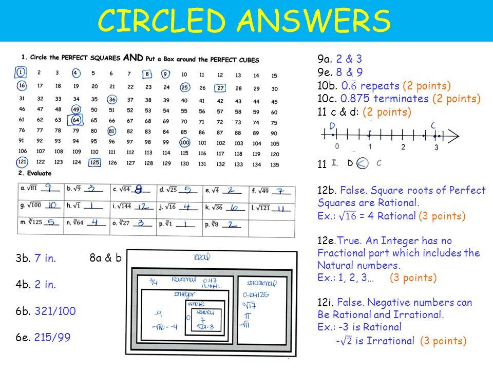 CIRCLED ANSWERS 3b. 7 in. 4b. 2 in. 6b. 321/100 6e. 215/99 8a & b