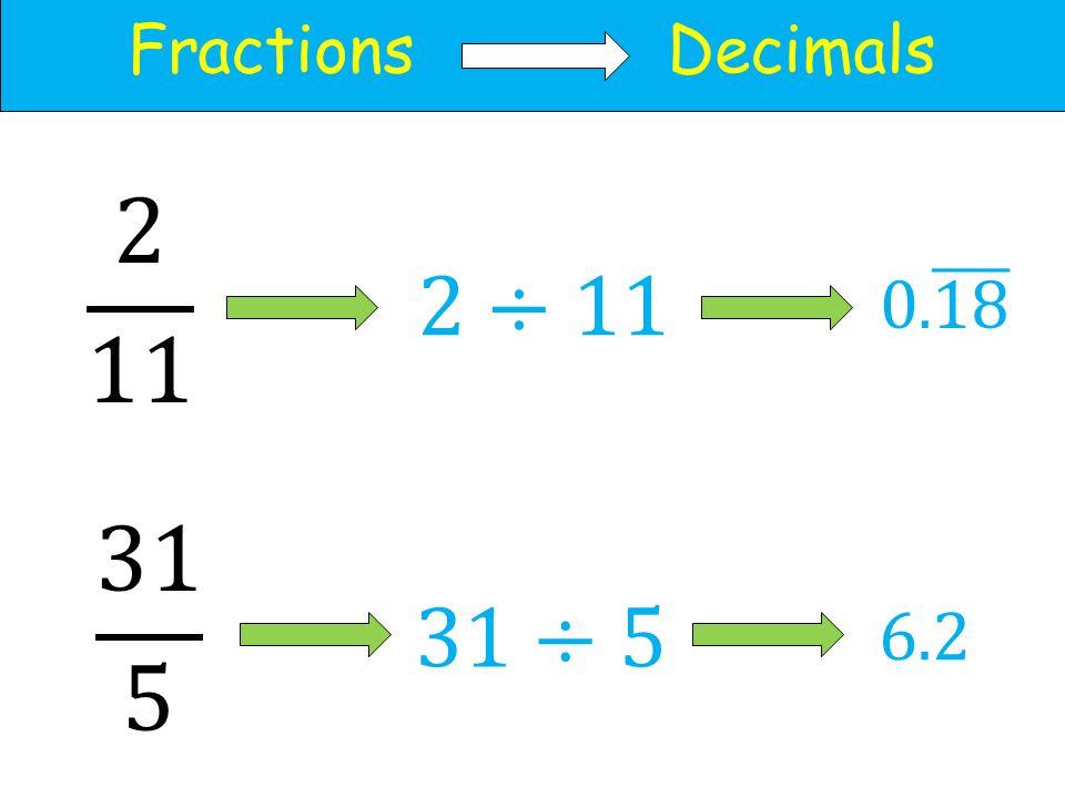 Fractions Decimals 6.2