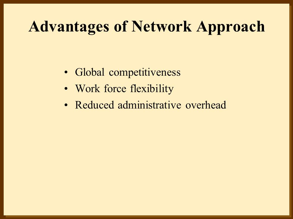 Advantages of Network Approach Global competitiveness Work force flexibility Reduced administrative overhead