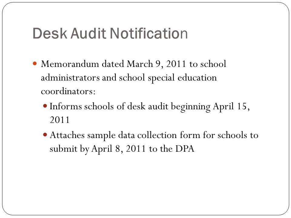 7 Desk Audit Notification
