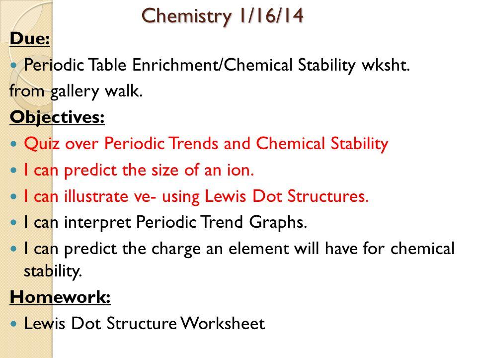 Periodic Table Objectives Periodic Table Objectives Objectives I – Chemistry Worksheet Lewis Dot Structures