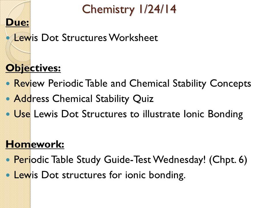 Periodic Table Objectives Periodic Table Objectives Objectives I – Lewis Dot Structure Worksheet