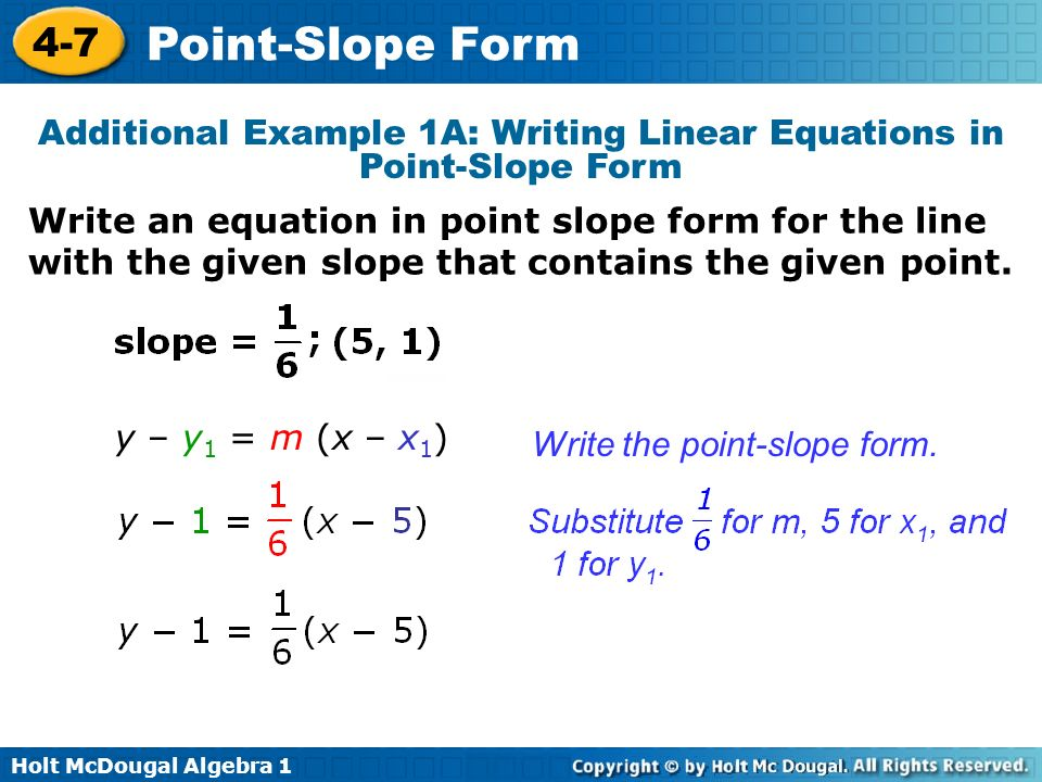 Point-Slope Form 4-7 Warm Up Lesson Presentation Lesson Quiz - ppt ...