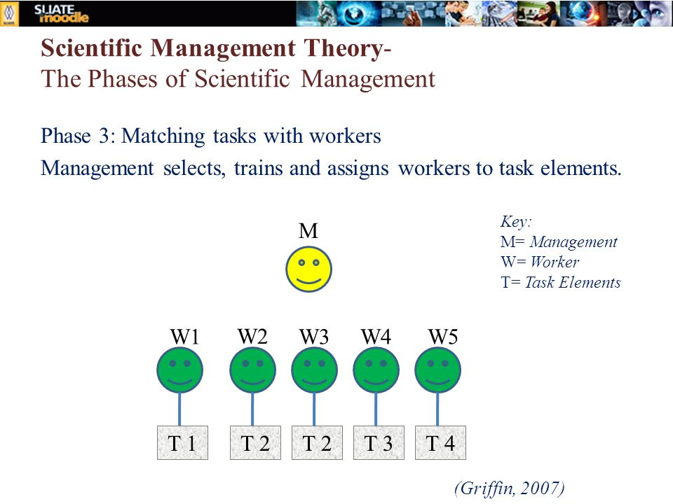 Scientific Management Theory- The Phases of Scientific Management Phase 3: Matching tasks with workers Management selects, trains and assigns workers to task elements.