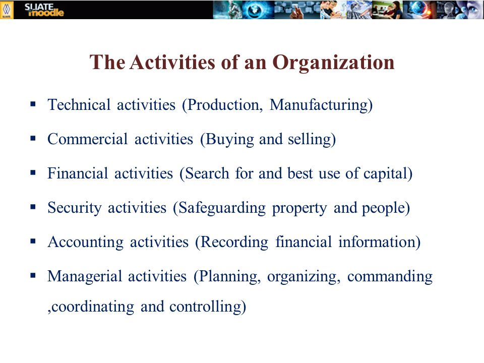 The Activities of an Organization  Technical activities (Production, Manufacturing)  Commercial activities (Buying and selling)  Financial activities (Search for and best use of capital)  Security activities (Safeguarding property and people)  Accounting activities (Recording financial information)  Managerial activities (Planning, organizing, commanding,coordinating and controlling)