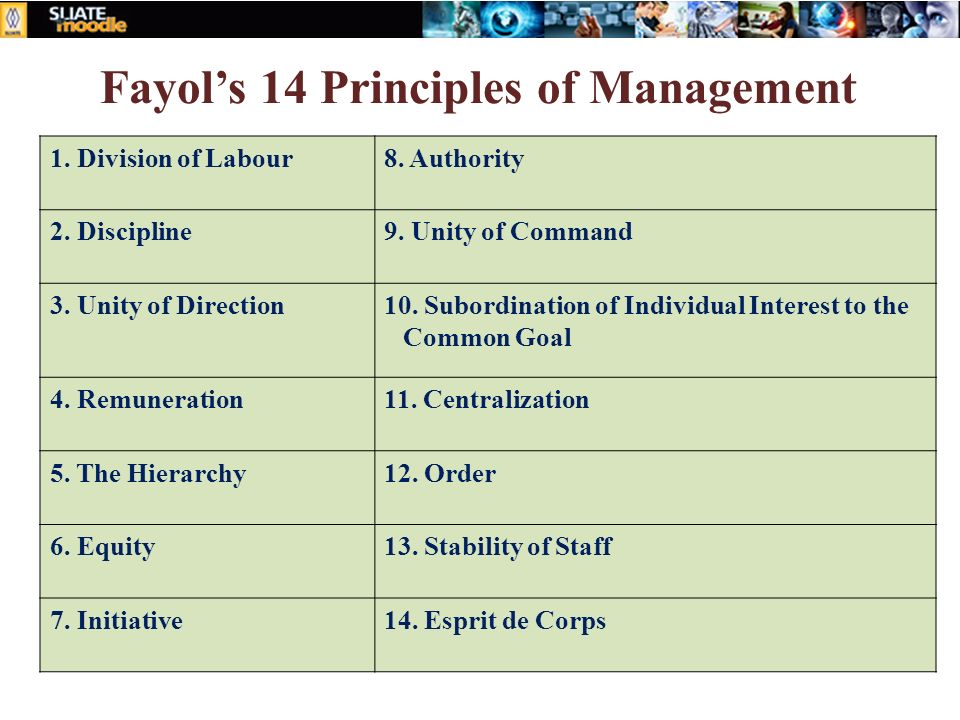 Fayol's 14 Principles of Management 1. Division of Labour8. Authority 2. Discipline9. Unity of Command 3. Unity of Direction10. Subordination of Indiv
