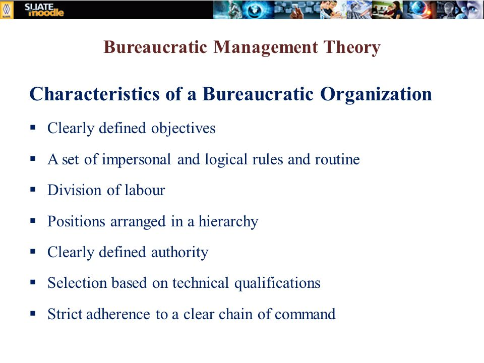 Bureaucratic Management Theory Characteristics of a Bureaucratic Organization  Clearly defined objectives  A set of impersonal and logical rules and