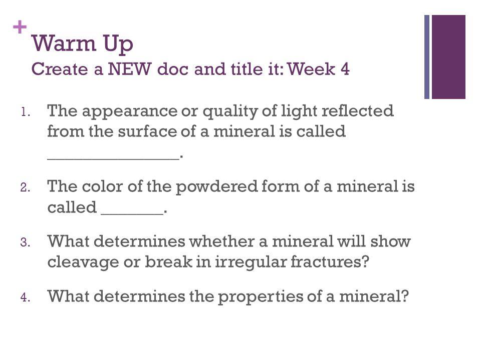 Minerals September 6 - September 13 Chapter 2 Quiz on Monday ...