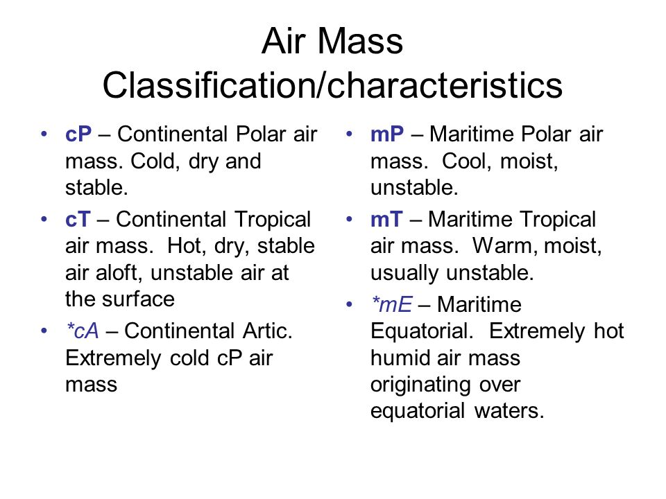 Chapter Air Masses Fronts And Middle Latitude Cyclones Ppt - Air masses map of us hot dry cool moist