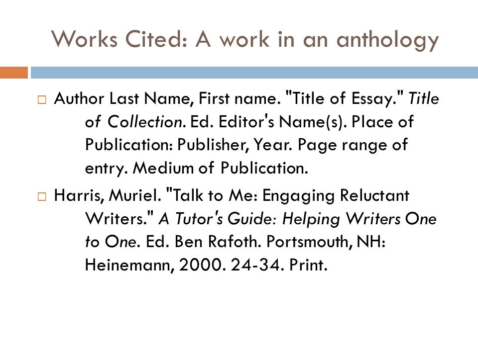 "in text citation of an essay from an anthology Chapter – a section of a book that is generally numbered or titled cite a chapter in print structure: last, first m ""section title"" book/anthology ed."