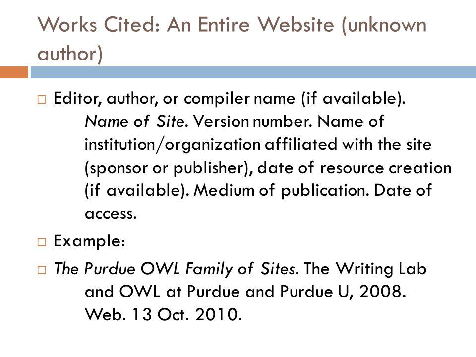 works cited website