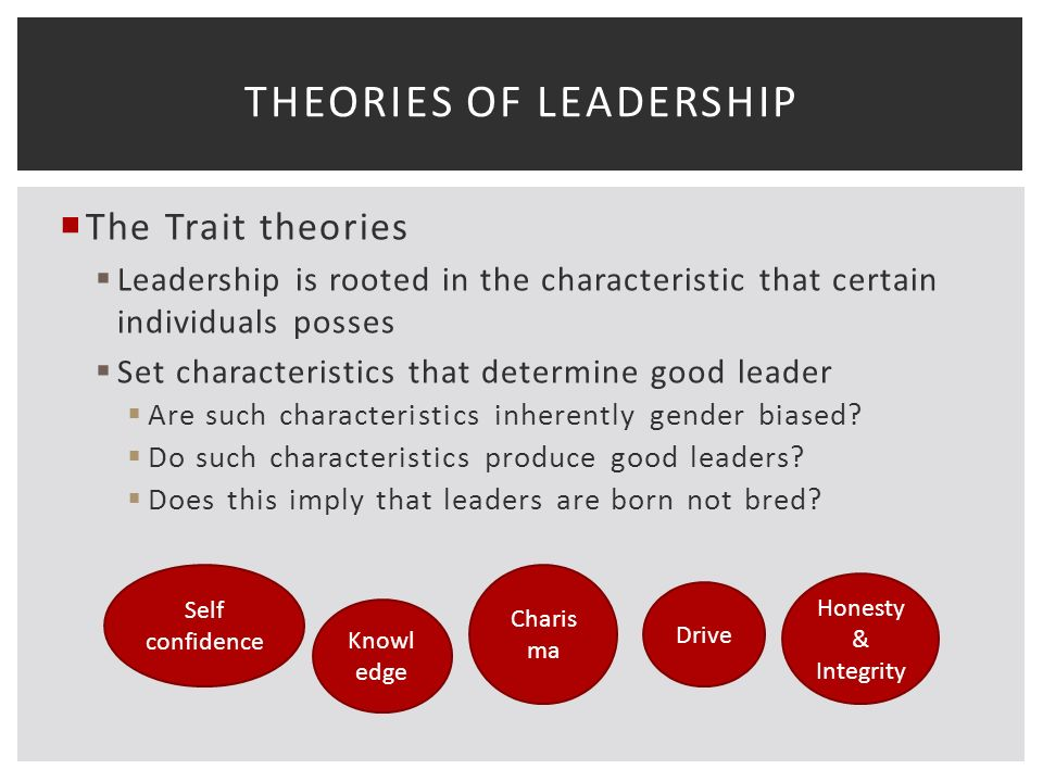  The Trait theories  Leadership is rooted in the characteristic that certain individuals posses  Set characteristics that determine good leader  Are such characteristics inherently gender biased.