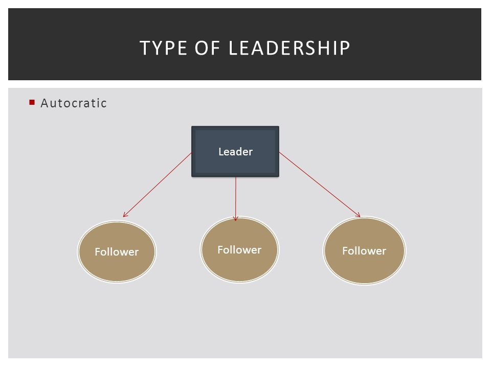  Autocratic TYPE OF LEADERSHIP Leader Follower
