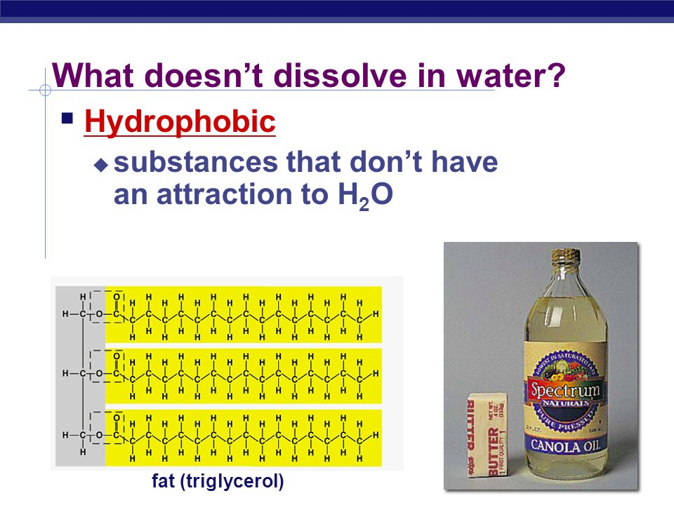 What dissolves in water  Hydrophilic  substances have attraction to H 2 O