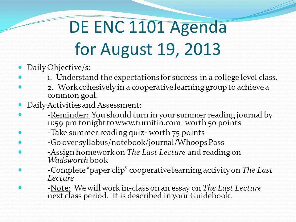 College english 101. ENC 1101?