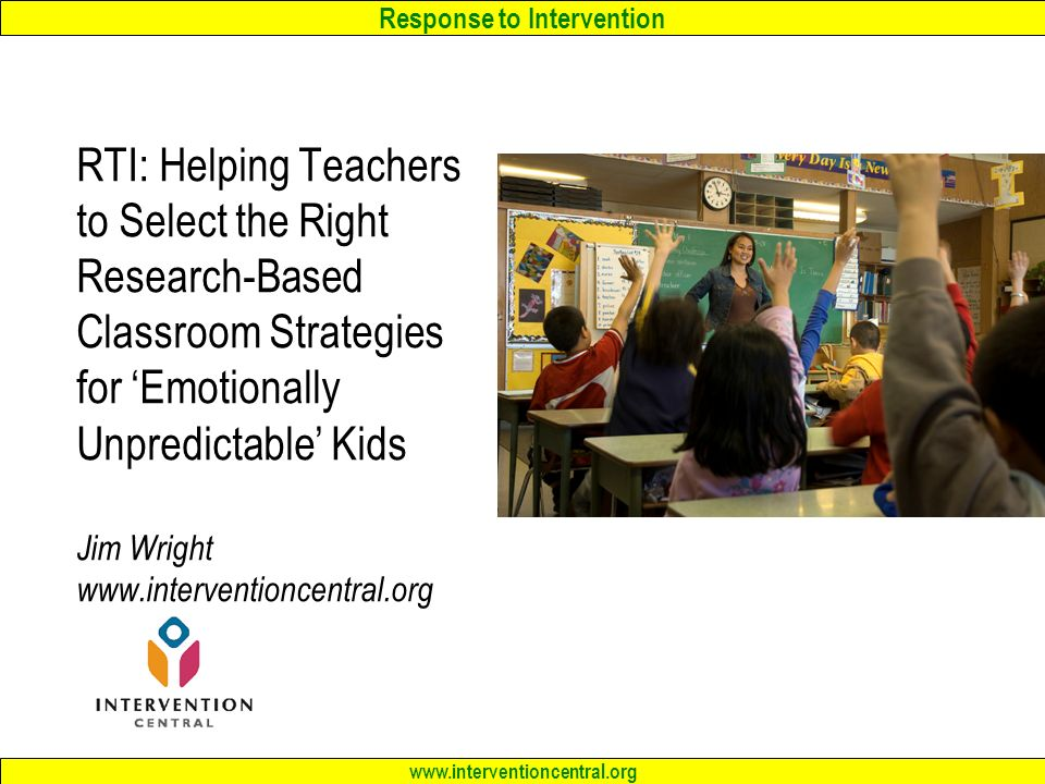 Research papers on response to intervention
