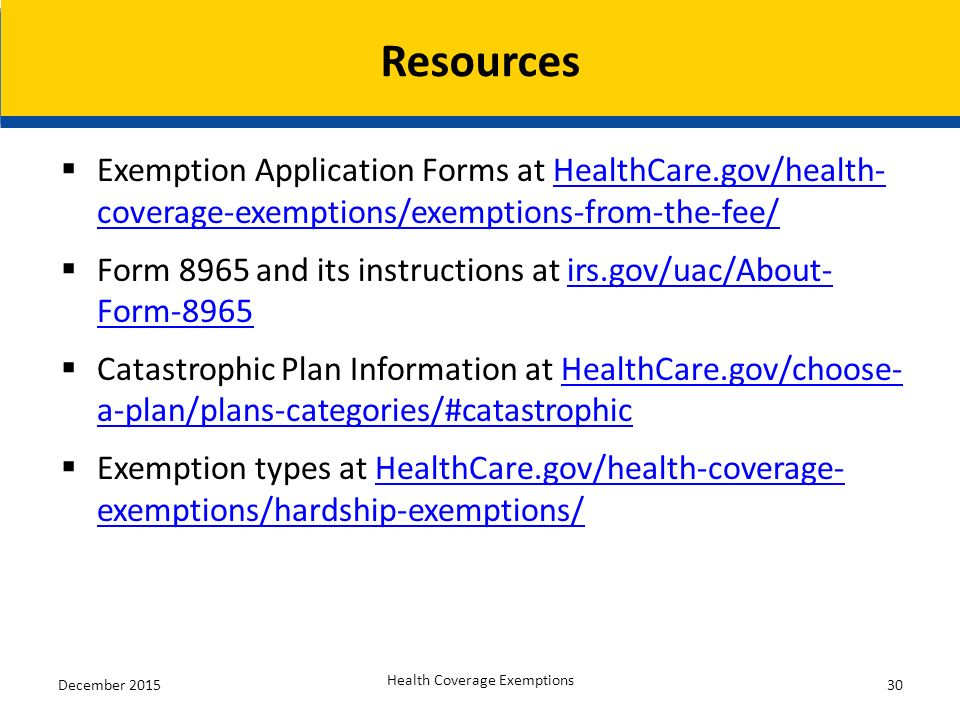 Exemptions from the Health Insurance Marketplace Fee Overview of ...