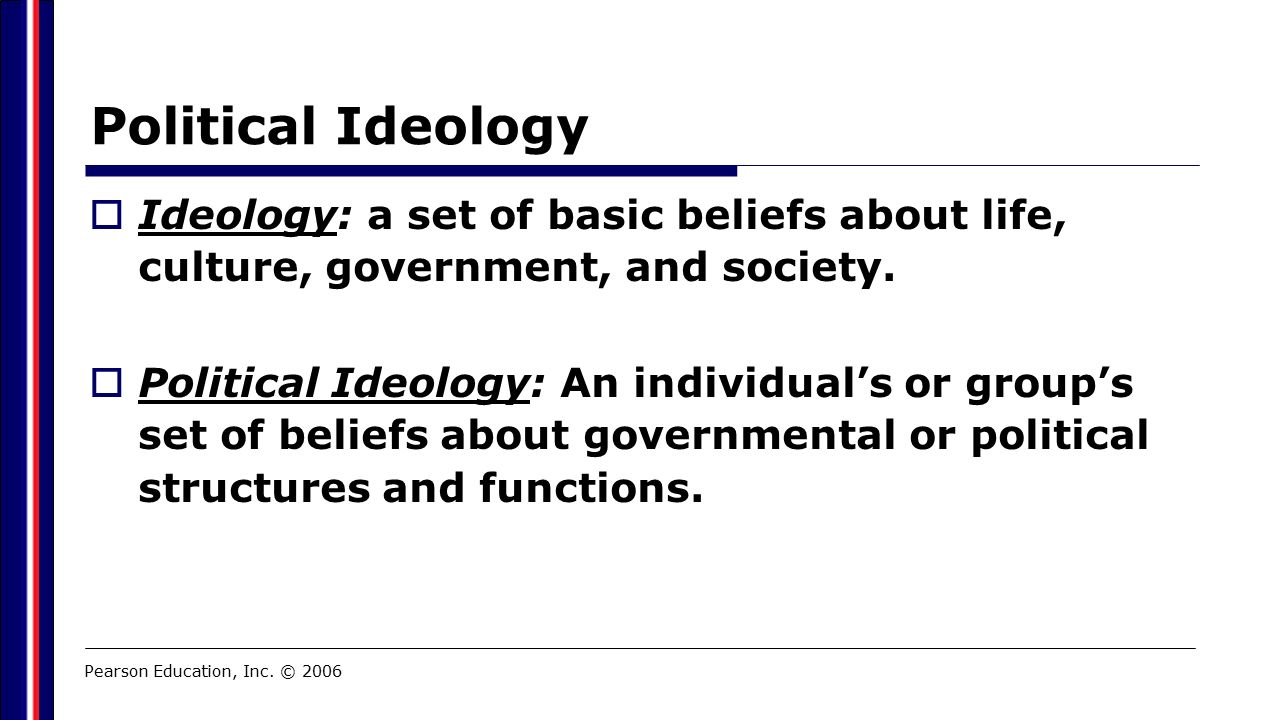 Political Ideology  Ideology: a set of basic beliefs about life, culture, government, and society.